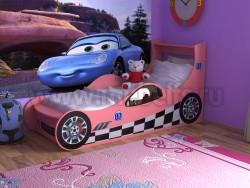 Детская кровать машинка 70х160 (розовая).