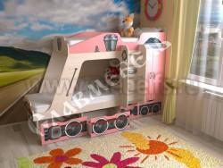 Детская двухъярусная кровать Паровозик с ящиками (розовый).