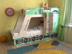 Детская двухъярусная кровать Паровозик с ящиками (зеленый).