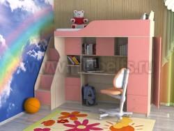 Кровать-чердак Дуэт-11 с лестницей-ящиками (ДМР).