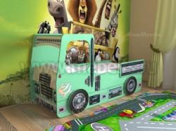 Кровать машинка грузовик 80х190см с ящиками (зеленый).