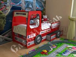 Кровать машинка Пожарная 70х160см с ящиками (красный).