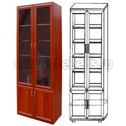 Книжный шкаф с комбинированными дверцами (арт.432)