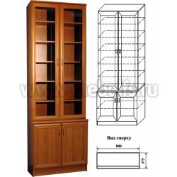 Книжный шкаф с комбинированными дверцами (арт.402).