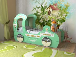 Детская кровать карета 70х160 с ящиками (зеленая).