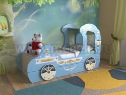 Детская кровать карета 70х160 с ящиками (синий).