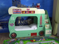 Двухъярусная кровать Автобус-2 с лестницей-ящиками (зеленый).