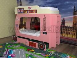 Двухъярусная кровать Автобус-2 с лестницей (розовый).
