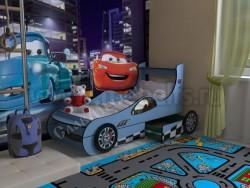 Детская кровать машинка с двумя ящиками (синяя).