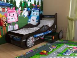 Кровать машинка полицейская с двумя ящиками (венге).