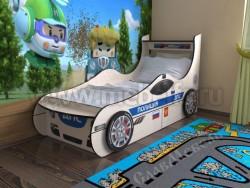 Кровать машинка полицейская с двумя ящиками (дуб молочный).