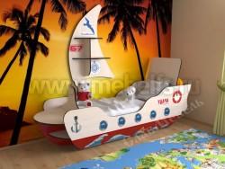 Детская кровать корабль (дуб молочный/красный).