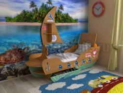 Детская кровать корабль 70х160см (ольха/салатовый).