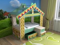 Детская кровать теремок с ящиком (дмз).