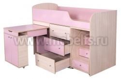 Кровать чердак с рабочей зоной Фунтик (дуб молочный/ розовый).