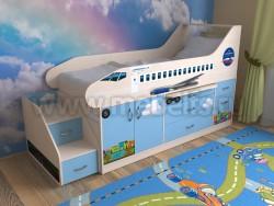 Кровать-чердак самолет 80х190 с ящиками (ДМС).