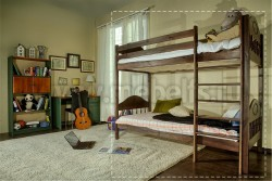 Детская двухъярусная кровать F2 (60х140см) из массива сосны.