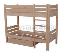 Двухъярусная кровать Классика 60х140см с ящиком до лестницы