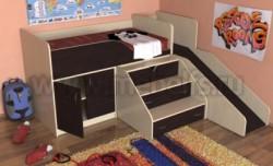 Кровать чердак с рабочей зоной и горкой Кузя (ДМВ).