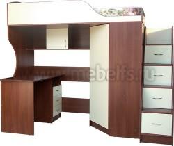 Кровать чердак Квартет-2 с рабочей зоной и лестницей-ящиками (ЯВ).