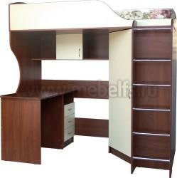 Кровать чердак Квартет-2 с рабочей зоной и лестницей (ЯВ).