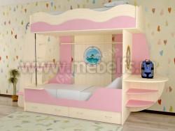 Двухъярусная кровать в виде корабля с ящиками (розовый).