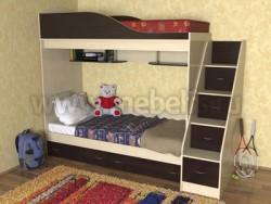 Кровать двухъярусная с лестницей-ящиками Дуэт (ДМВ).