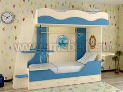 Двухъярусная кровать в виде корабля с ящиками (синий).