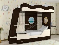 Двухъярусная кровать в виде корабля с ящиками (ВДМ).