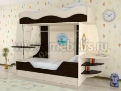 Двухъярусная кровать в виде корабля с ящиками (ДМВ).