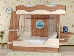 Двухъярусная кровать в виде корабля с ящиками (ЯШВ).