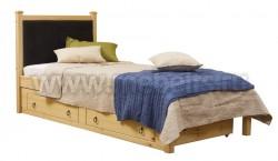 Односпальная кровать с мягким изголовьем Дания-1/1 90х200см с ящиком
