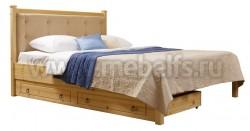 Кровать с мягким изголовьем Дания-1/1 140х190см и ящиком