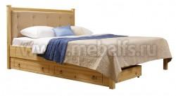 Кровать с мягким изголовьем Дания-1/1 140х200см и ящиком