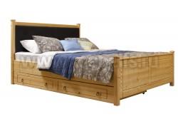 Кровать с мягким изголовьем Дания-1 140х200см с двумя ящиками