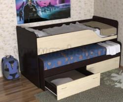 Детская двухъярусная выдвижная кровать с ящиками Дуэт-2 (ВДМ).