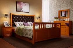 Кровать с мягким изголовьем Дания-2 140х200см и двумя ящиками