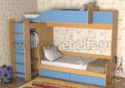Двухъярусная кровать со шкафом Дуэт-3 (БС).