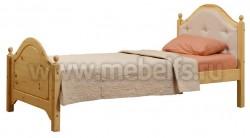 Кровать К2 (Кая) 80х200 с мягким изголовьем из сосны
