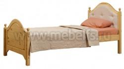 Кровать К2 (Кая) 80х190 с мягким изголовьем из сосны