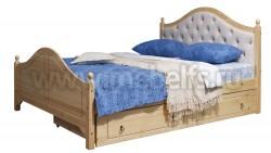 Кровать с мягким изголовьем К2 (Кая) 140х190 и ящиком для белья