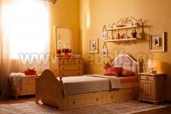 Кровать К2 (Кая) 90х200 с мягким изголовьем и ящиком для белья