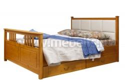 Кровать с мягким изголовьем Дания-3 140х190см с ящиками