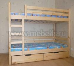 Кровать двухъярусная Марина 80х190см с ящиками из сосны