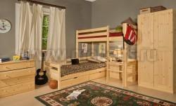 Двухъярусная кровать Классика-2 90х200 из сосны