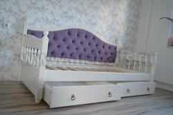 Кровать тахта мягкая F3 (Фрея) 90х200 с 2-мя ящиками из сосны.