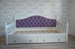 Кровать тахта мягкая F3 (Фрея) 90х190 с 2-мя ящиками из сосны.