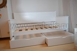 Кровать-тахта Т3 (Тора) 90х190 с 2я ящиками из сосны