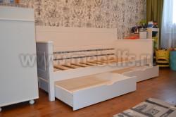 Кровать-тахта Т3 (Тора) 60х140 с 2я ящиками из сосны