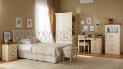 Односпальная кровать мягкая Дания №6 120х200 из массива сосна